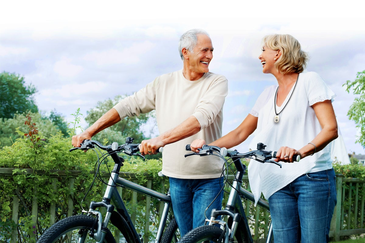 Active Couple on Bicycles